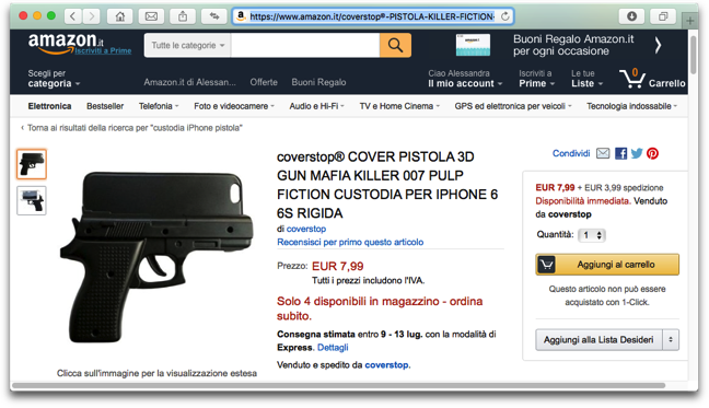 cover iphone 6s pistola