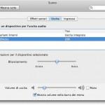 Snow Leopard: regolare il volume degli effetti sonori e dell'uscita audio