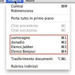iChat: stabilire l'ordine delle finestre Contatti