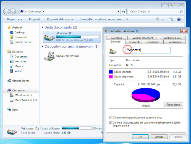partizione hd mac e windows