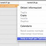 Condividere un evento di iCal via e-mail