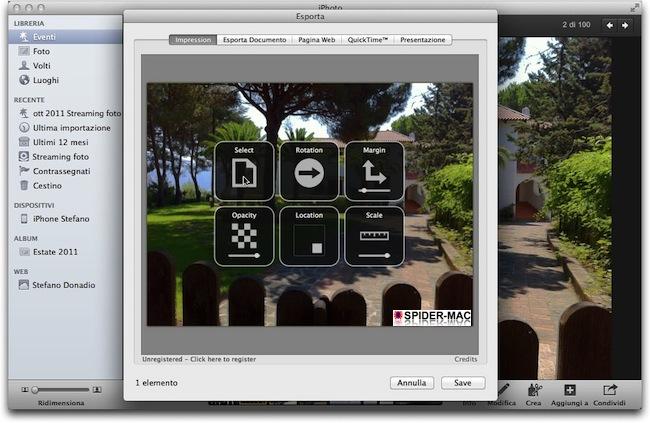 Aggiungere un watermark alle foto di iPhoto : SPIDER-MAC