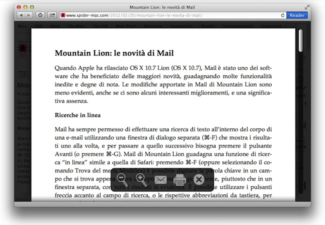 Safari Mountai Lion Reader