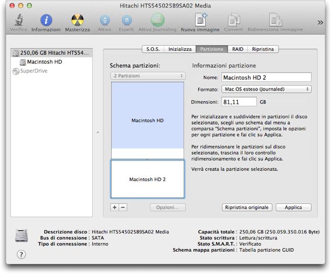 Utility disco 2partzione Mac