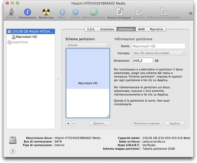Utility disco partzione Mac