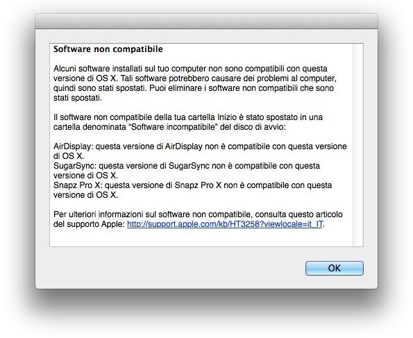 Software incompatibile