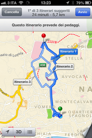 Mappe iOS tur-by-turn
