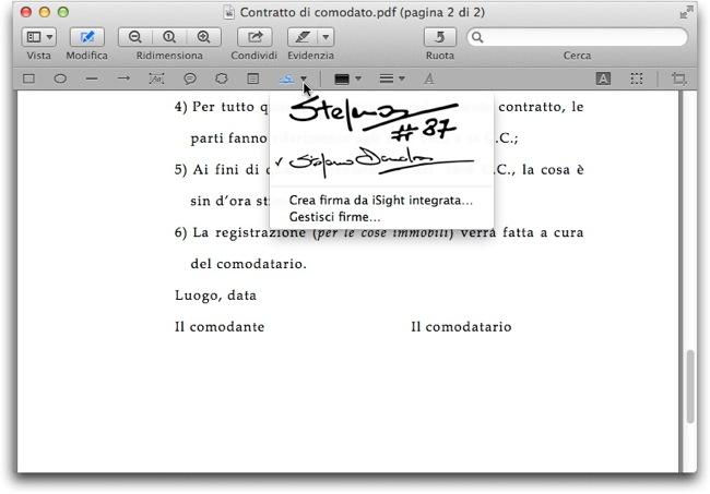Anteprima firmare PDF