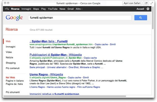 Safari Salvare URl ricerca Quick View