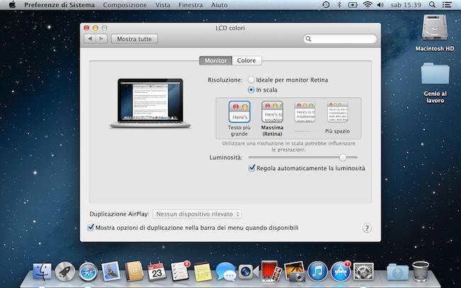 MacBook Pro Retina 13risoluzione più grande