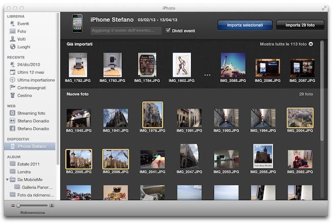 iPhoto importazione foto selezionate