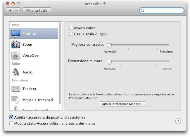 Accessibilita monitor