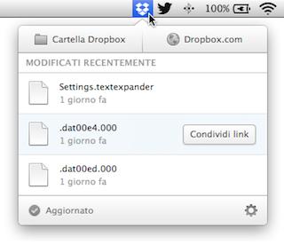 Dropbox nuovo menu