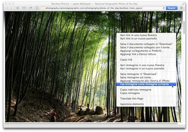 Safari imposta foto scrivania