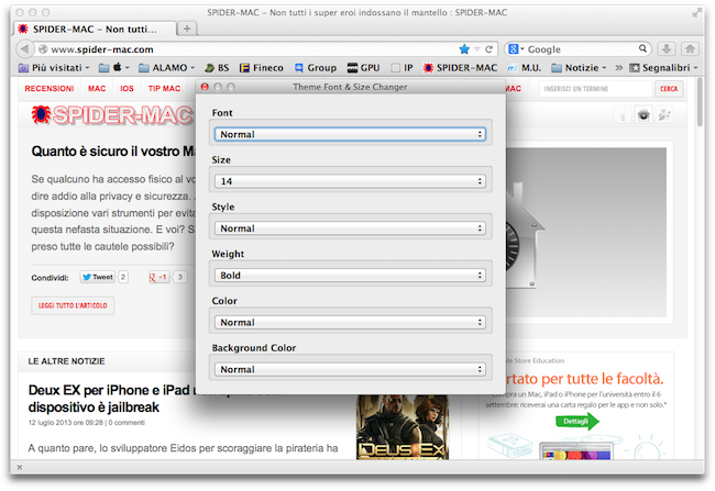 Firefox dimensione testo barra strumenti