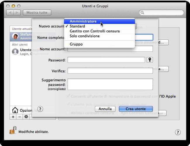 Modificare il nome account utente