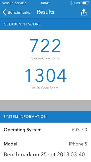 Recensione iPhone 5s benchmark confronto
