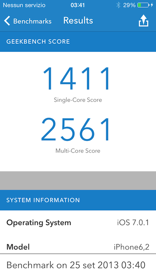 Recensione iPhone 5s benchmark