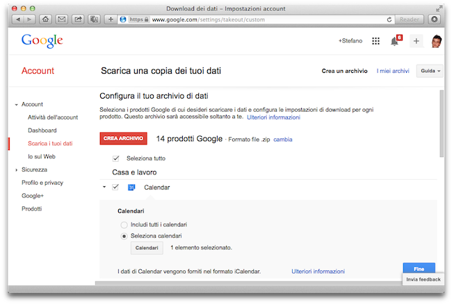 Backup Gmail Calendario