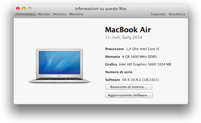 MacBook Air 11 inizio 2014