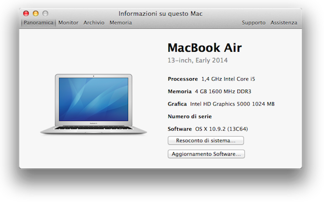 MacBook Air 13 inizio 2014