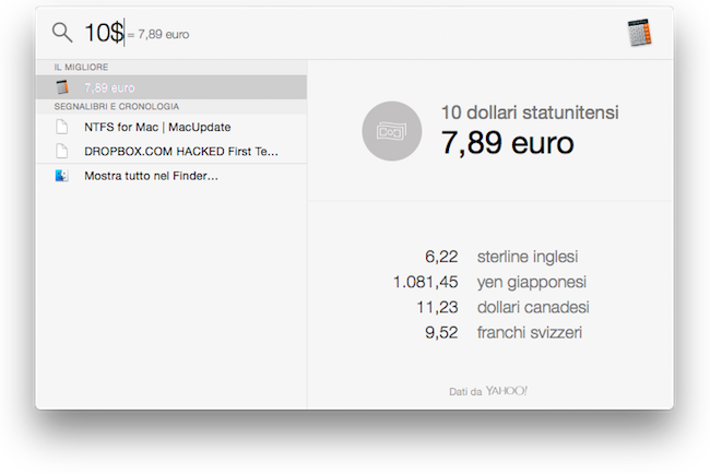 Yosemite convertitore dollari