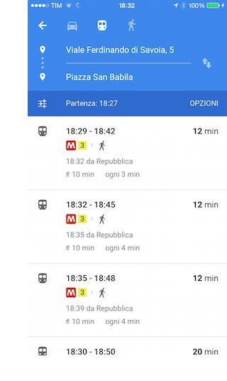 Google Maps bus Milano