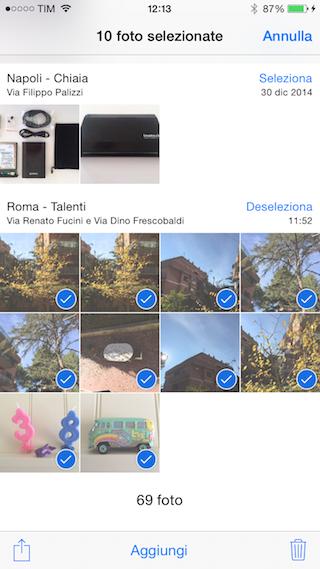Eliminazione selettiva foto iPhone