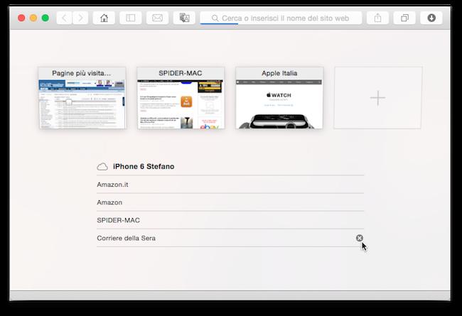 Yosemite chiudere pannelli iOS da Mac