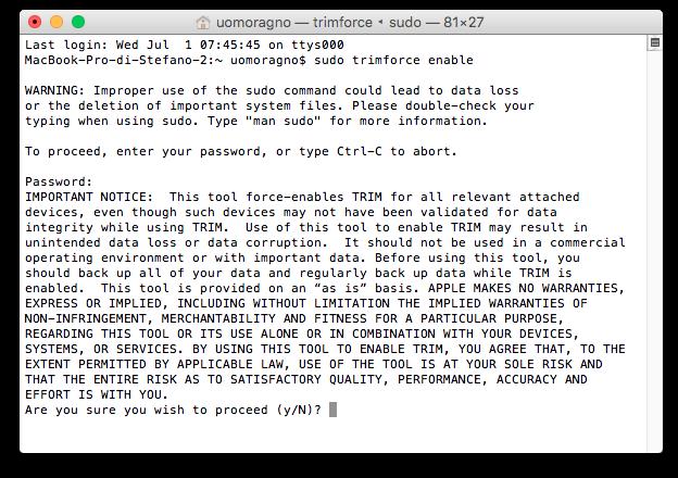Terminale TRIM abilitazione Terminale