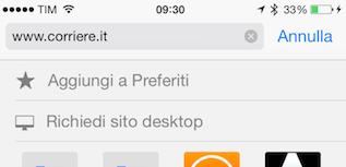 IOS 7 Richiedi sito desktop