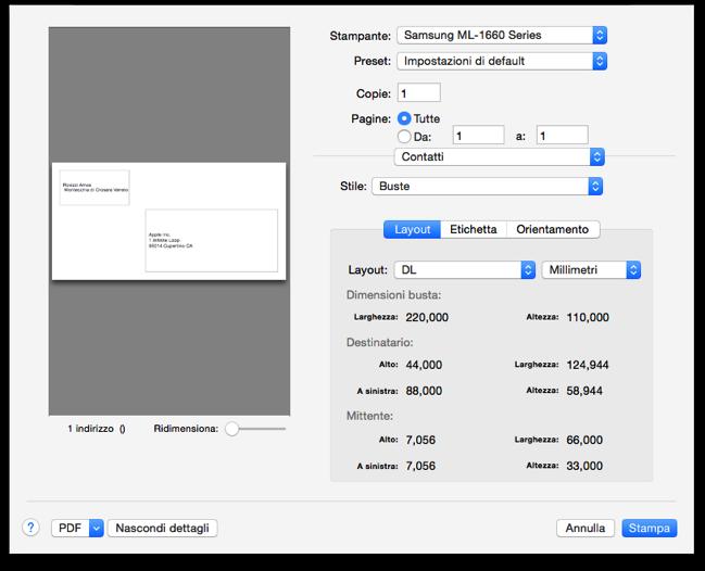 Stampare Mittente Contatti Mac