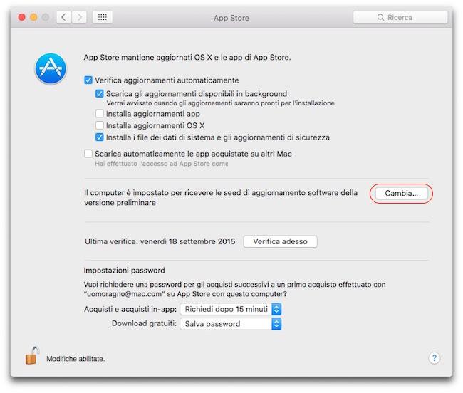 Beta sviluppo OS X El capitan