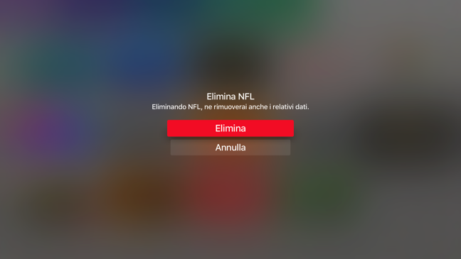 Elimina App Apple TV 4