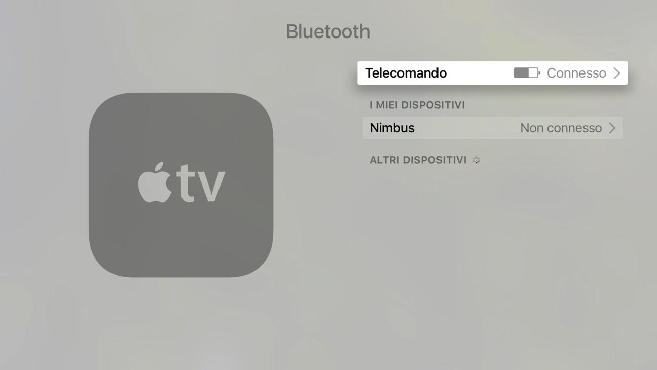 Telecomando Apple TV livelllo batteria