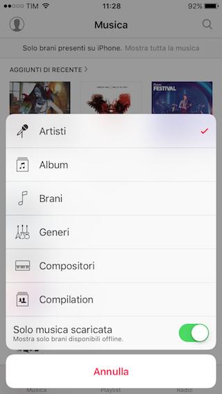 Musica iOS Solo musica scaricata