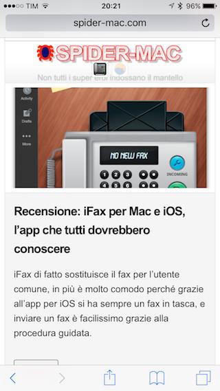 Safari Tip iOS barra strumenti