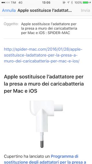 Safari testo email
