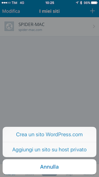 WordPress crea sito iPhone