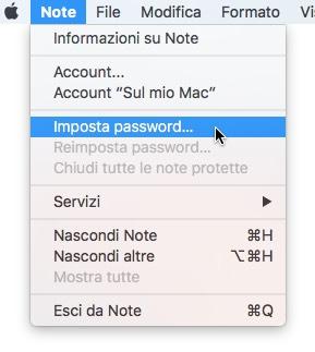 Note imposta password
