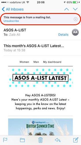 Unsubscibe iOS 10 Mail