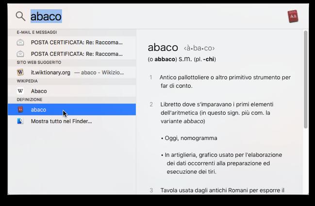 Dizionario OS X