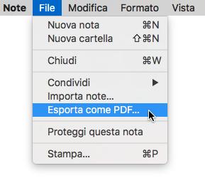 Note Esporta come PDF