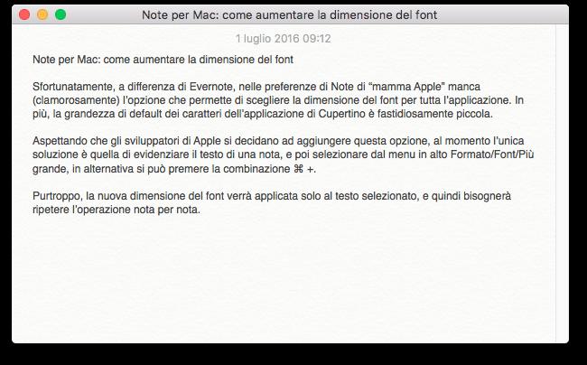 Note Mac grandezza font