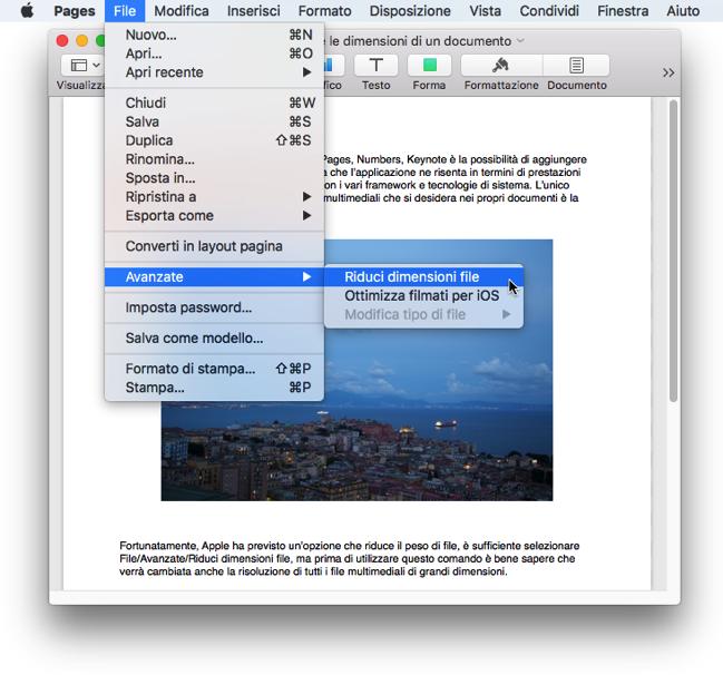 IWork quando ridurre dimensioni documento