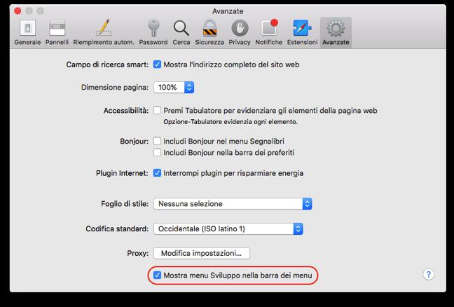 Safari menu sviluppo