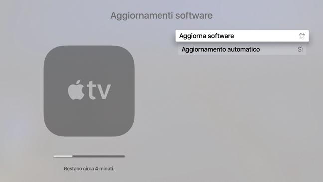 Apple TV aggiornamento