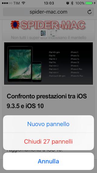 Chiudi tutti pannelli iOS 10