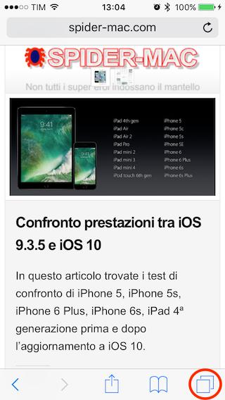 Chiudi tutti pannelli iOS10