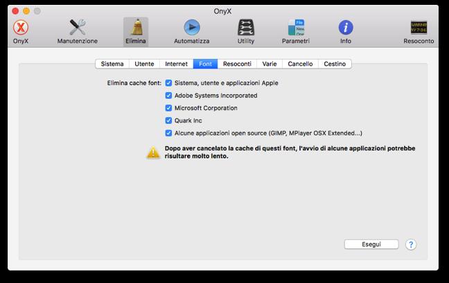 OnyX Sierra elimina cache font